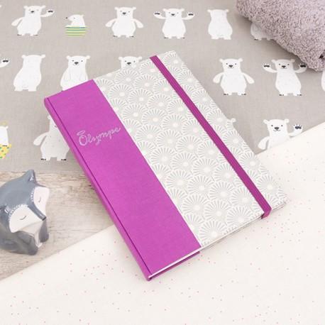 Carnet de notes - Olympe - Format A5 - Demi-reliure toile / papier de création - Sur-mesure - Prénom au tampon